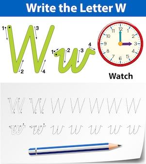 Planilhas de alfabeto de traçado da letra w