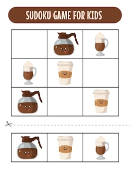 Planilhas de jogos fáceis de sudoku para crianças com café kawaii