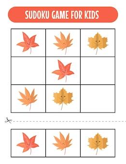 Planilhas de jogos fáceis de sudoku para crianças com kawaii outono