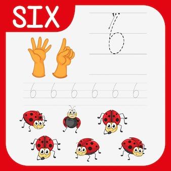 Planilhas de rastreamento do número seis