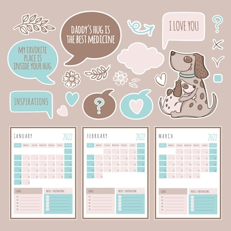 Planner winter months 2022 template schedule and collection with design elements and dogs