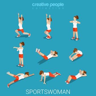 Plano 3d estilo isométrico sportswomen conceito de esporte masculino