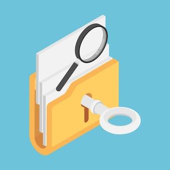 Plano 3d isométrica chave desbloquear pasta com lupa no topo. conceito de dados abertos.