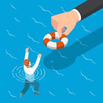 Plano 3d isométrica grande mão dando uma bóia salva-vidas para ajudar o empresário. ajudando o negócio a sobreviver ao conceito.