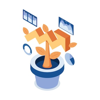 Plano 3d isométrica planta crescendo como gráfico de seta de crescimento. conceito de investimento de longo prazo.
