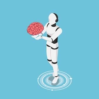 Plano 3d isométrico ai robô segurando o cérebro humano. tecnologia de inteligência artificial e conceito de aprendizado de máquina.
