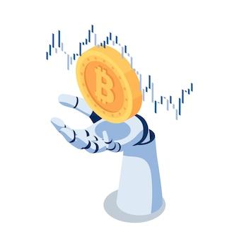 Plano 3d isométrico ai robot mão segurando bitcoin com gráfico financeiro. criptomoeda e conceito de tecnologia blockchain.