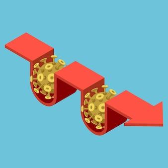 Plano 3d isométrico covid-19 vírus impacto no gráfico de seta financeira. conceito de crise financeira.