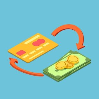 Plano 3d isométrico de cartão de crédito e dinheiro com sinal de devolução de dinheiro cartão de crédito de devolução e conceito