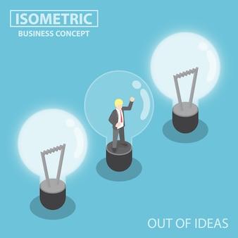 Plano 3d isométrico de negócios preso dentro da lâmpada quebrada, fora do conceito de ideias