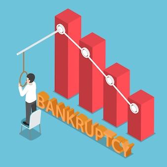 Plano 3d isométrico desesperado empresário tentando cometer suicídio por enforcamento. conceito de falência e falência empresarial