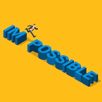 Plano 3d isométrico do conceito impossível ao possível