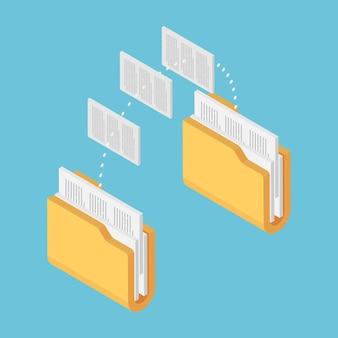 Plano 3d isométrico duas pastas, transferência de arquivos de documentos. compartilhamento de arquivos e conceito de gerenciamento de documentos.