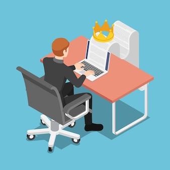 Plano 3d isométrico empresário digitando no laptop com documento e coroa. o conteúdo é rei e o conceito de marketing de conteúdo.