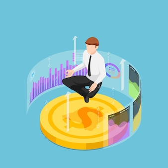 Plano 3d isométrico empresário fazendo meditação na pose de lótus na moeda do dólar e gráfico financeiro. análise financeira e conceito de especialista em negócios.