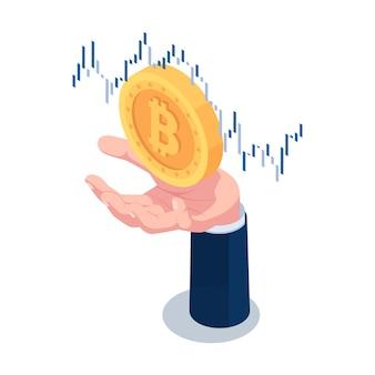 Plano 3d isométrico empresário mão segurando bitcoin com gráfico financeiro. criptomoeda e conceito de tecnologia blockchain.