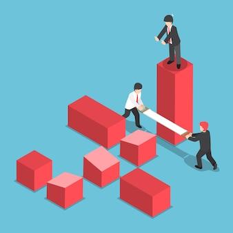 Plano 3d isométrico empresário tentando destruir negócios de seu rival