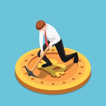 Plano 3d isométrico empresário usar pickaxe cavando em bitcoin. conceito de mineração e criptomoeda bitcoin.