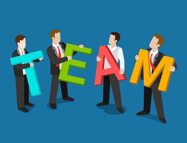 Plano 3d isométrico equipe conceito de negócio web infográficos ilustração
