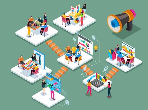Plano 3d isométrico estilo trabalho em equipe conceito web infográficos