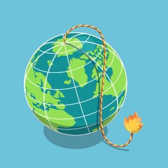 Plano 3d isométrico o planeta terra com fusível em chamas. catástrofe global e conceito de crise econômica mundial.