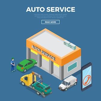 Plano 3d isométrico serviço de reparo de automóveis, edifício exterior conceito infográfico, pequenas empresas