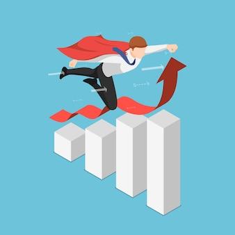 Plano 3d isométrico super empresário voando sobre o crescimento do gráfico de negócios. liderança e conceito de sucesso.