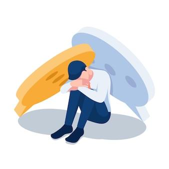 Plano 3d isométrico triste empresário sentado sob as bolhas do discurso. discurso de ódio e conceito de cyberbullying.