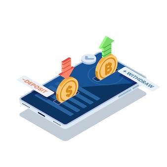 Plano 3d isométrico trocando moeda de dólar e criptomoeda bitcoin no aplicativo de smartphone. conceito de plataforma de troca de criptomoeda.