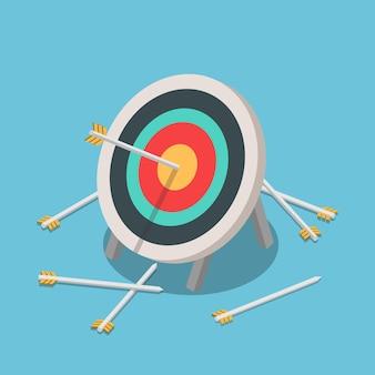 Plano 3d isométrico um de muitas flechas acertando o centro do alvo
