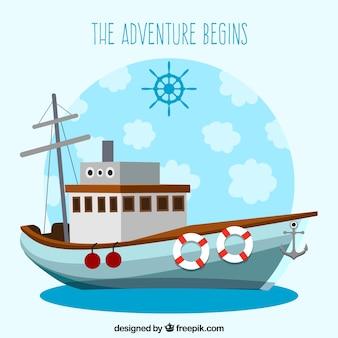 Plano, barco, fundo