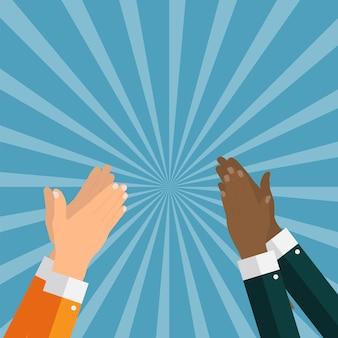 Plano. conceito de sucesso aplausos. mãos batendo palmas. ilustração vetorial. eps10