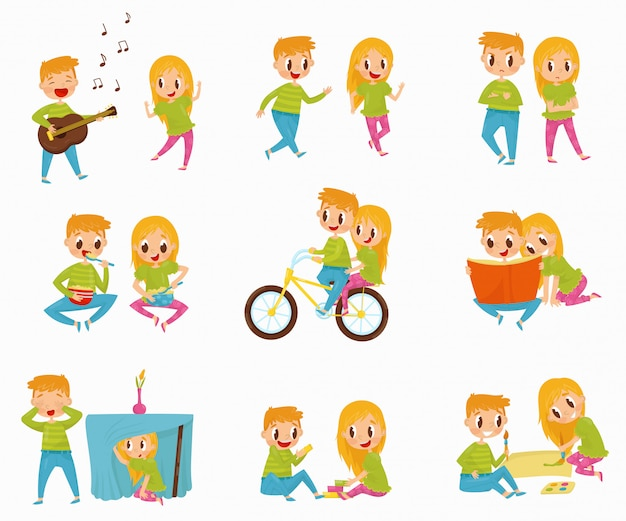 Plano conjunto com menino e menina em diferentes ações. andar de bicicleta, ler livro, tomar café da manhã, brincar de esconde-esconde