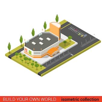 Plano d isométrico conceito de infográfico de blocos de construção de venda de shopping center