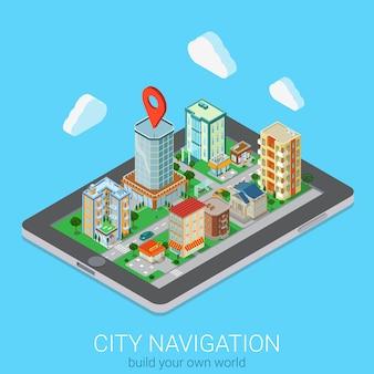 Plano d isométrico criativo móvel cidade navegação web infográficos conceito