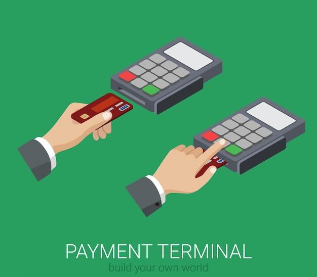 Plano d isométrico de pagamento com cartão de crédito terminal pos uso do código pin conceito web infográficos