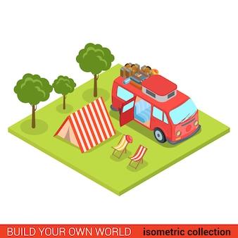 Plano d isométrico hippie van outdoor tenda lounge cadeira de praia moderno info gráfico conceito