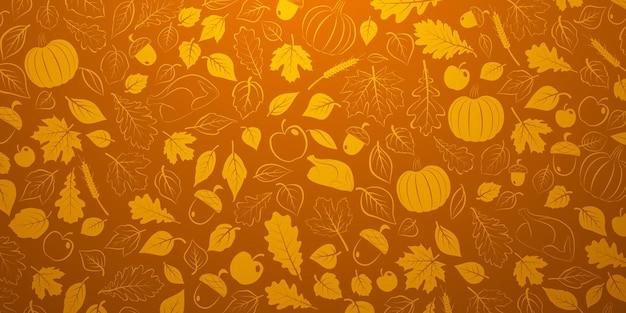 Plano de ação de graças feliz com folhas de outono, legumes e peru em cores laranja
