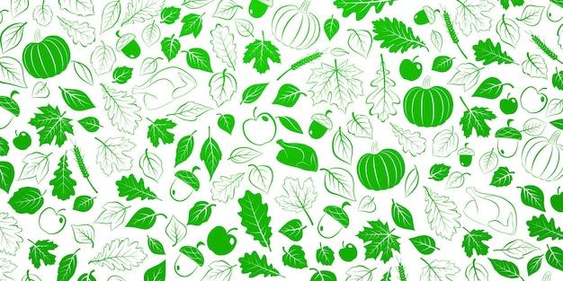 Plano de ação de graças feliz com folhas de outono, legumes e peru, verde e branco