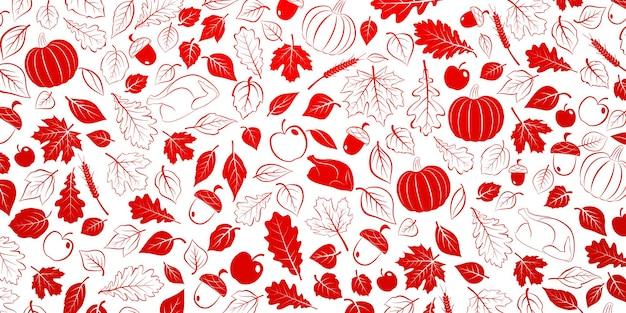 Plano de ação de graças feliz com folhas de outono, legumes e peru, vermelho e branco