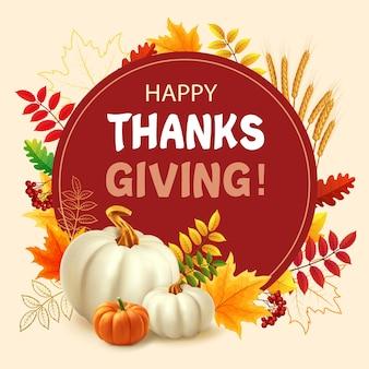 Plano de ação de graças feliz com folhas de outono