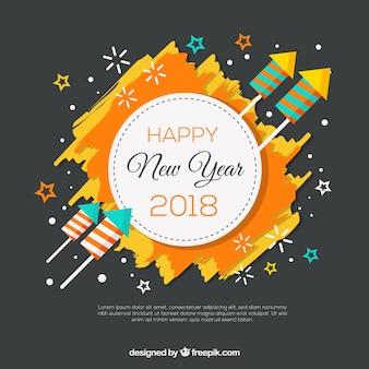 Plano de ano novo colorido com fogos de artifício