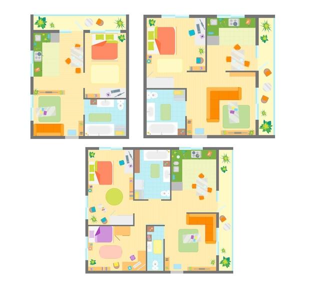 Plano de apartamento com conjunto de móveis e vista superior esquema básico do quarto