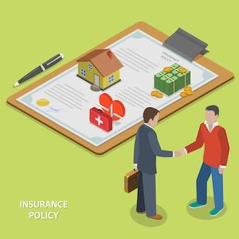 Plano de apólice de seguro isométrico.