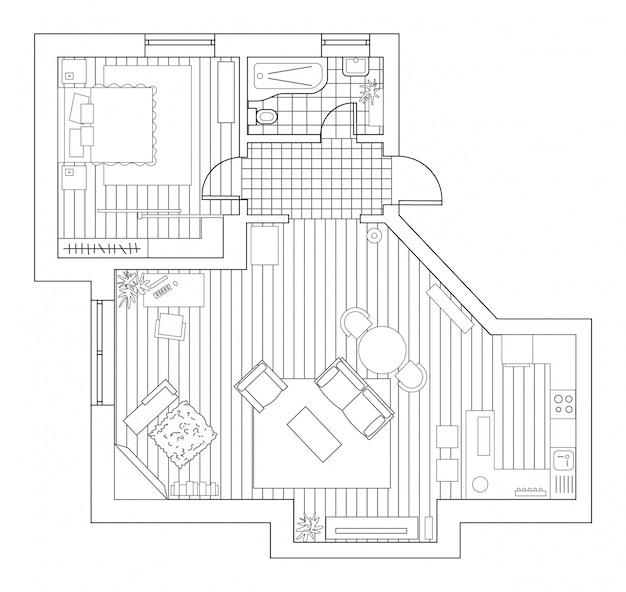 Plano de arquitetura com mobília em vista superior. livro de colorir.