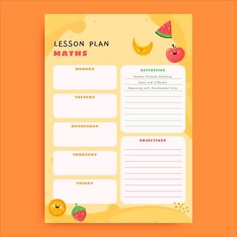 Plano de aula pré-k de matemática amarelo criativo