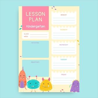 Plano de aula pré-k de monstros desenhados à mão fofos