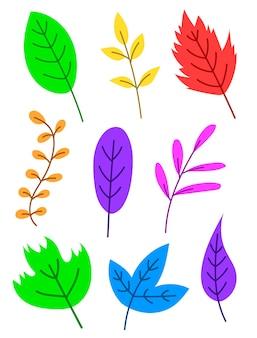 Plano de bonito dos desenhos animados conjunto de folhas coloridas. folhas de outono. folhas tropicais.