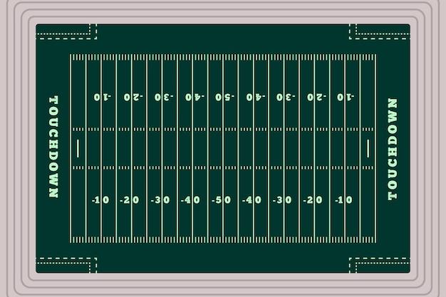 Plano de campo de futebol americano em vista superior