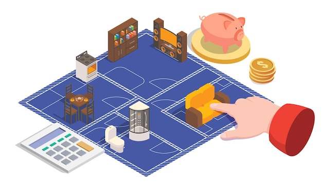 Plano de casa e design de ilustração vetorial de conceito d isométrica planta baixa planta baixa sala interio ...